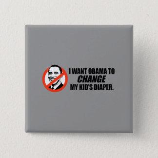 Bóton Quadrado 5.08cm T-shirt de Anti-Obama - mude minha fralda dos
