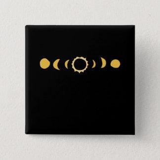 Bóton Quadrado 5.08cm T total da arte do tempo da data do eclipse solar