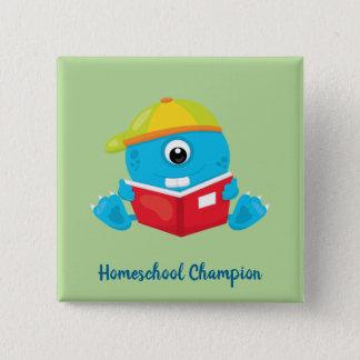 Bóton Quadrado 5.08cm Tema azul Amusing do monstro do homeschool