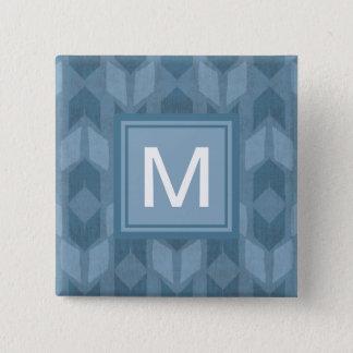 Bóton Quadrado 5.08cm Teste padrão azul exterior da seta de etapa | de