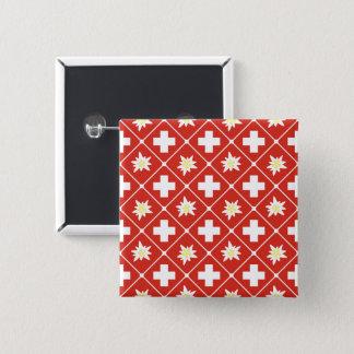 Bóton Quadrado 5.08cm Teste padrão de Edelweiss da suiça