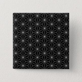 Bóton Quadrado 5.08cm Teste padrão geométrico elegante - prata & Preto
