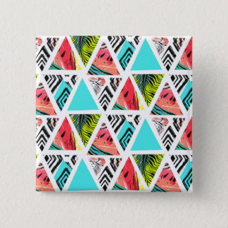 Bóton Quadrado 5.08cm Teste padrão tropical abstrato colorido