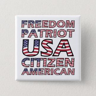 Bóton Quadrado 5.08cm Texto da bandeira do patriota da liberdade