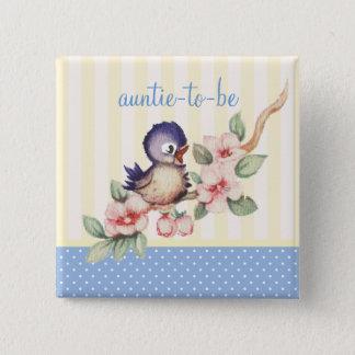 Bóton Quadrado 5.08cm Tia pequena do chá de fraldas do pássaro do