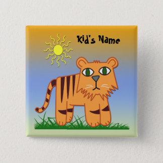 Bóton Quadrado 5.08cm TJ o botão quadrado do miúdo bonito do tigre