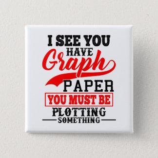 Bóton Quadrado 5.08cm Traço do papel de gráfico da matemática algo