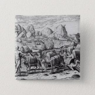 Bóton Quadrado 5.08cm Trem de bloco dos lamas carregado com prata