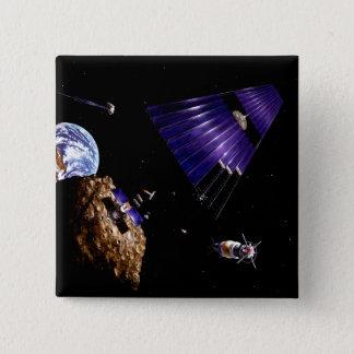 Bóton Quadrado 5.08cm Uma missão asteróide da mineração