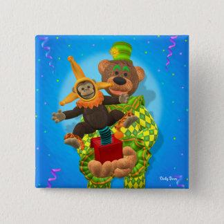 Bóton Quadrado 5.08cm Ursos Dinky palhaço & Sr. Zippy na caixa