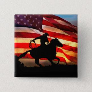 Bóton Quadrado 5.08cm Vaqueiro e botão do dom da bandeira americana