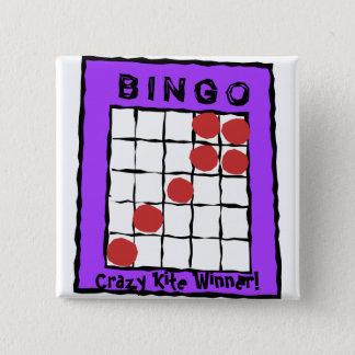 Bóton Quadrado 5.08cm Vencedor louco do papagaio! botão do bingo