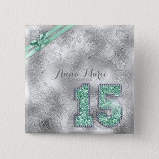 Bóton Quadrado 5.08cm Verde ID382 da hortelã do aniversário de brocado