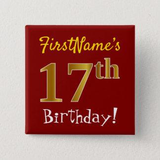 Bóton Quadrado 5.08cm Vermelho, aniversário do ouro do falso 17o, com