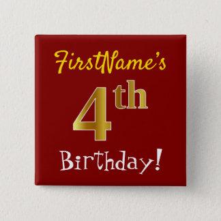 Bóton Quadrado 5.08cm Vermelho, aniversário do ouro do falso 4o, com