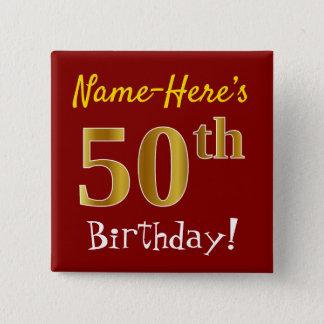 Bóton Quadrado 5.08cm Vermelho, aniversário do ouro do falso 50th, com