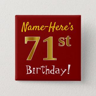 Bóton Quadrado 5.08cm Vermelho, aniversário do ouro do falso 71st, com