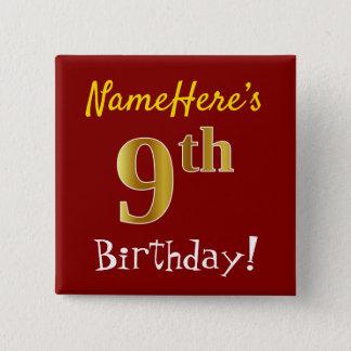Bóton Quadrado 5.08cm Vermelho, aniversário do ouro do falso 9o, com