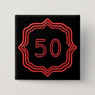Bóton Quadrado 5.08cm Vermelho de néon 50