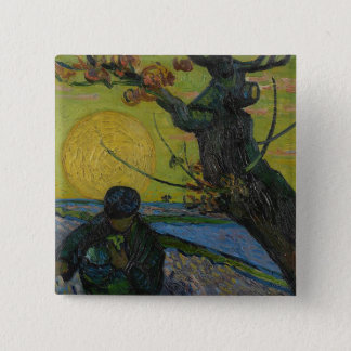 "Bóton Quadrado 5.08cm Vincent van Gogh - ""pintura do Sower"". Crachá da"