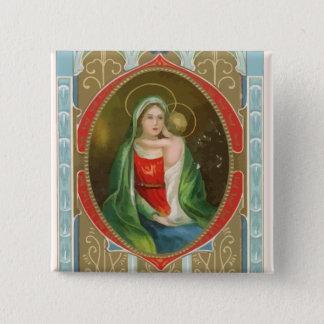 Bóton Quadrado 5.08cm Vintage botão religioso de Mary e de Jesus
