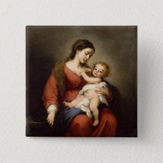 Bóton Quadrado 5.08cm Virgin e criança do cristo