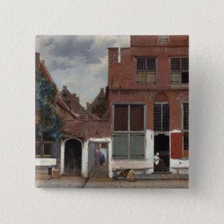 Bóton Quadrado 5.08cm Vista das casas em Delft a rua pequena