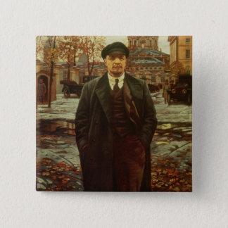Bóton Quadrado 5.08cm Vladimir Ilyich Lenin em Smolny, c.1925