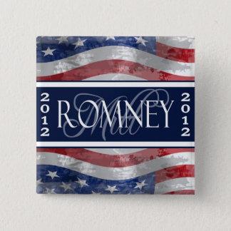 Bóton Quadrado 5.08cm Voto para o botão de Romney 2012