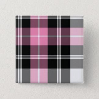 Bóton Quadrado 5.08cm xadrez cor-de-rosa