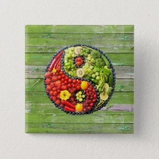 Bóton Quadrado 5.08cm YinYang - parede da madeira do verde da harmonia