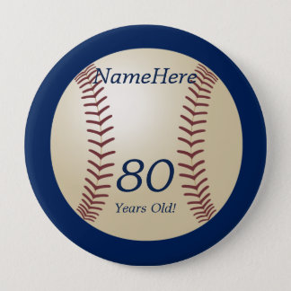 Bóton Redondo 10.16cm 80 anos velho, basebol no Pin azul do botão