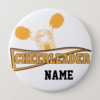 Bóton Redondo 10.16cm A menina do cheerleader do ouro   personaliza