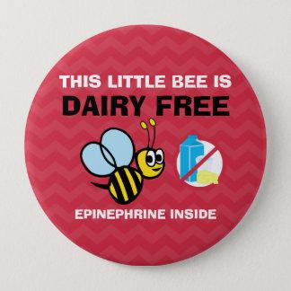 Bóton Redondo 10.16cm Alerta personalizado da alergia da leiteria abelha