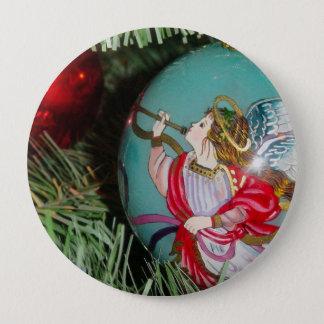Bóton Redondo 10.16cm Anjo do Natal - arte do Natal - decorações do anjo