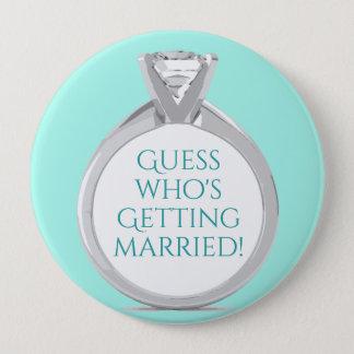 Bóton Redondo 10.16cm Anúncio Tiffany do anel de noivado - costume