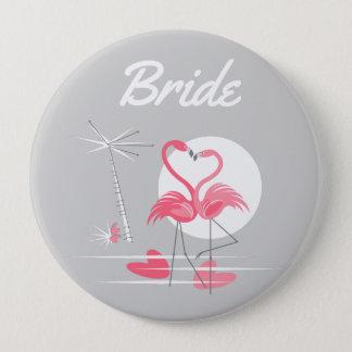 Bóton Redondo 10.16cm Botão da noiva do lado do amor do flamingo