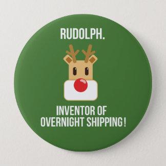 Bóton Redondo 10.16cm Botão de noite do Natal do transporte de Rudolph