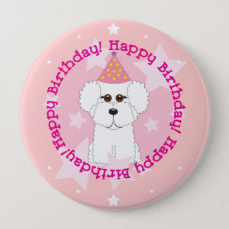Bóton Redondo 10.16cm Botão do feliz aniversario de Bichon Frise