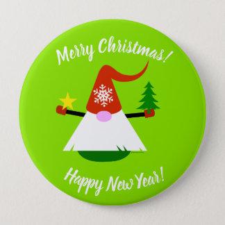 Bóton Redondo 10.16cm Botão do feliz ano novo do Feliz Natal do gnomo