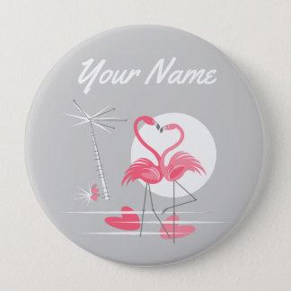 Bóton Redondo 10.16cm Botão do nome do lado do amor do flamingo