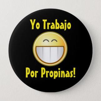 Bóton Redondo 10.16cm Botão feliz da ponta (espanhol)