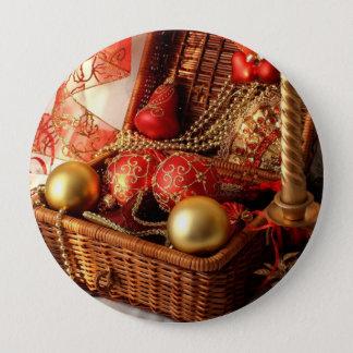 Bóton Redondo 10.16cm Caixa de Natal - decorações do Natal