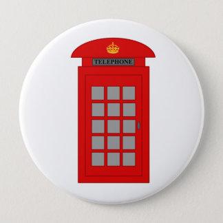 Bóton Redondo 10.16cm Caixa de telefone britânica