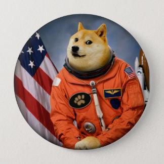 Bóton Redondo 10.16cm cão do astronauta - doge - shibe - memes do doge