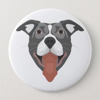 Bóton Redondo 10.16cm Cão Pitbull de sorriso da ilustração