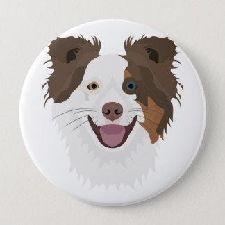 Bóton Redondo 10.16cm Cara feliz border collie dos cães da ilustração