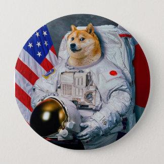 Bóton Redondo 10.16cm Doge cão-bonito do astronauta-doge-shibe-doge do