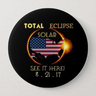 Bóton Redondo 10.16cm Eclipse solar partido botão o 21 de agosto total.