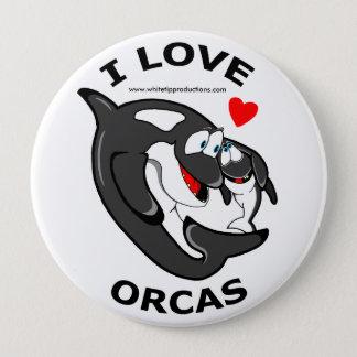 Bóton Redondo 10.16cm Eu amo o crachá do divertimento das orcas
